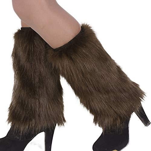 AchidistviQ Wintermode Damenstiefelüberzug, Kunstfell, einfarbig, weich, Beinstulpen, Kunstfell, Schuhüberzug, Beinabdeckung, lange Socken, Khaki, 30 cm