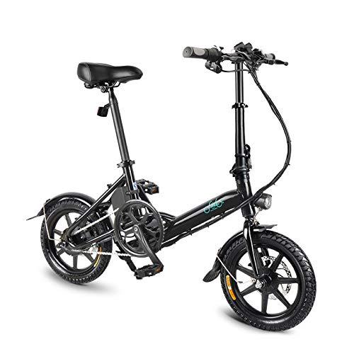 OIYINM77 250W Faltbare Elektrische Fahrrad 14 Zoll Erwachsene 3 Geschwindigkeit Ultralight FIIDO System Fahrrad, Batterie Lithium ION 36V 7,8Ah (Schwarz)