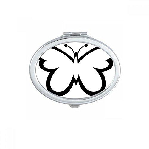 DIYthinker Rose Papillon Rose dans l'huile-Peinture Maquillage Compact Ovale Miroir de Poche Miroirs Mignon Petit Cadeau Portable à la Main Multicolor