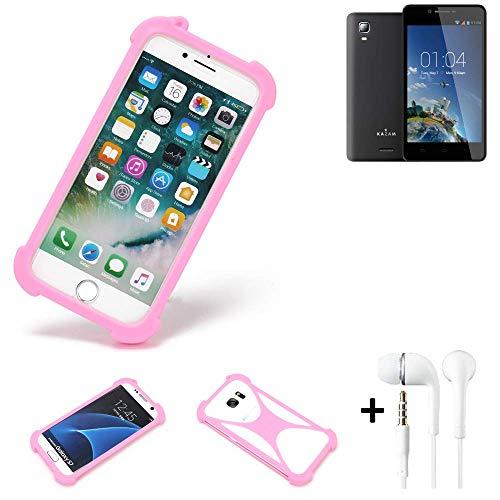 K-S-Trade® Bumper + Kopfhörer Für Kazam Trooper 2 6.0 Handyhülle Schutzhülle Silikon Schutz Hülle Cover Case Silikoncase Silikonbumper TPU Softcase Smartphone, Pink (1x)