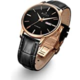 BOCCI Mens Rose Gold Watch Leather Band Black Japanese Automatic Watch Mechanical Casual Dress Wrist Watch Waterproof with Date Luminous