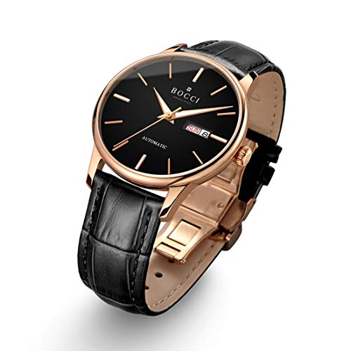 BOCCI Mens Rose Gold Watch Leather Band Black Japanese Automatic Watch Mechanical Casual Dress Wrist Watch Waterproof with Date Luminous