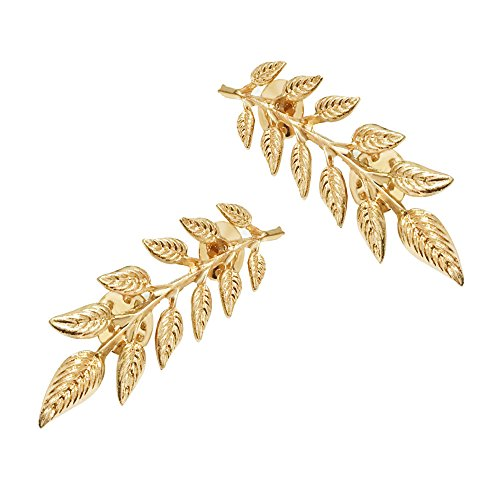 star and sea 1 Pair Elegant Gold Wheat Leaf Suit Clip Collar Pin Brooch for Unisex (Gold)