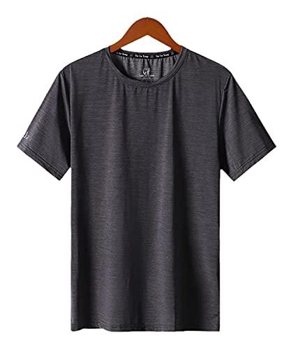 Camiseta Sin Mangas De Secado RáPido para,T-Shirt de Manga Corta de Seda de Hielo Reparación Masculina Cuello Redondo Moda de Moda.-Gris_5XL