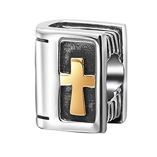 Abalorio de plata de ley 925 con diseño de cruz cristiana, para pulse