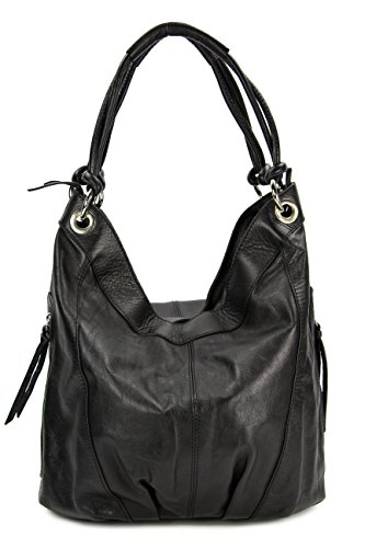 Belli ital. Nappa Leder Shopper Handtasche Damentasche Ledertasche schwarz - 35x31(mittig) x17 cm (B x H x T)