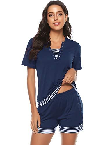 Tee Shirt et Short Femme Manches Courtes Ensembles Survêtement Sportswear Sweat Suit Zipper Casual Jogging Pyjama d'intérieur Tenue Bleu Marine XL