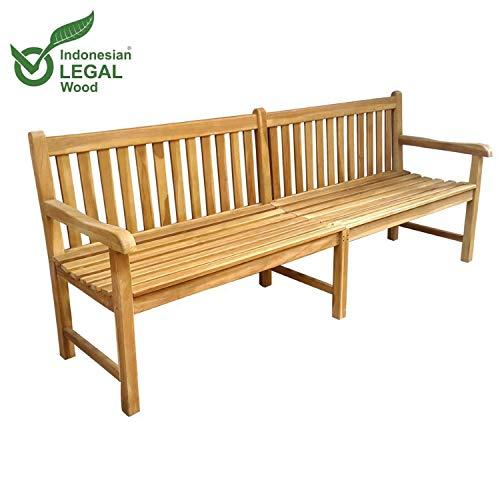 Mojawo XXL Gartenbank aus Teakholz Teakholzbank aus nachhaltig bewirtschafteten Plantagenbau 200x90x60cm