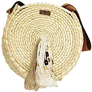 Kiki Boho   Sand Sunbag, bolsa de palma guano con asas de piel y llavero