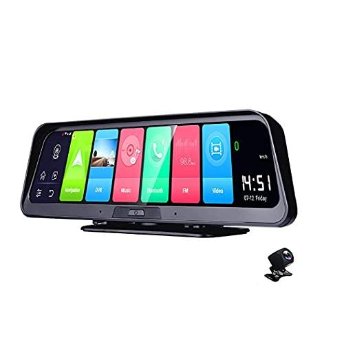Cámara de salpicadero Android 4G, salpicadero DVR de coche de 10 pulgadas para espejo retrovisor automático WiFi HD Grabador de vídeo GPS Registro de navegación