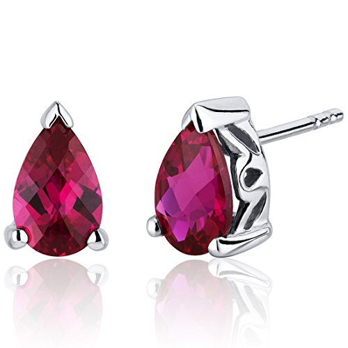 Peora 2.00 Carats Created Ruby Pear Shape Basket Style Stud Earrings in Sterling Silver