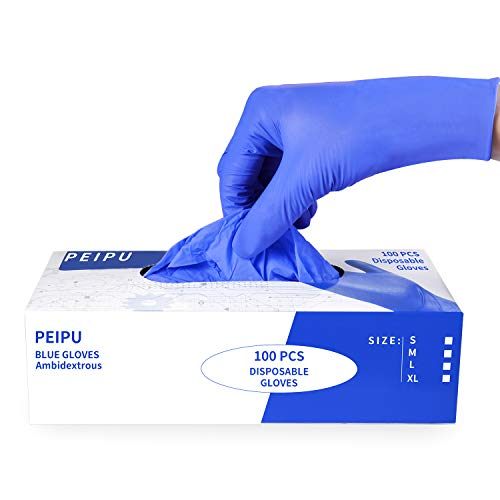 PEIPU Nitrile and Vinyl Blend Material Disposable Gloves (Medium, 100-Count), Powder Free, Cleaning Service Gloves, Latex Free