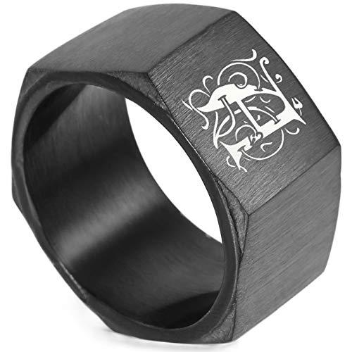MeMeDIY Negro Acero Inoxidable Anillo Ring Banda Venda Tuerca de Tornillo Talla Tamaño 17 - Grabado Personalizado
