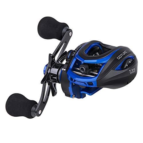 Goture Baitcasting Reels Right Handed Baitcaster Fishing Reel Carbon Fiber Drag Magnetic Brake Dual Brakes 7 1 Bearings 7.1 GearRatio 17.5lbs Max Drag Blue