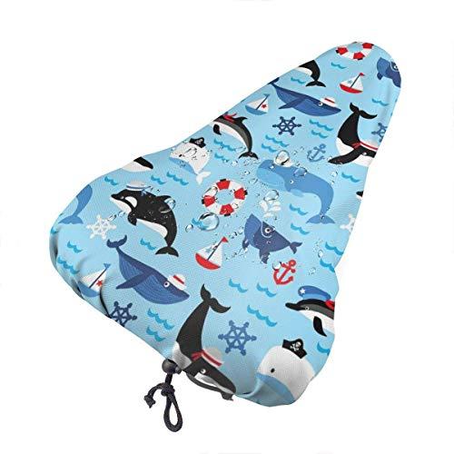 Like-like Nautische Wale Wasserdichter Regenschutz für Fahrradsitze mit Kordelzug, Regen- und staubdichtem Bezug