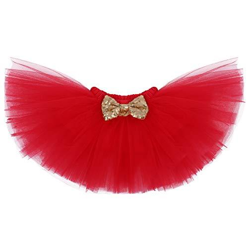 FYMNSI Disfraz de fiesta de cumpleaños para bebé, de algodón, con falda de tutú y cinta para la cabeza, 3 piezas, para sesiones fotográficas Rojo 1º cumpleaños. 12 meses