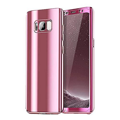 Galaxy S8/S8 Plus Hüllen, Galaxy Note 8 Handyhülle 3 in 1 Ultra Dünn Case Hartschale 360 Grad Hart PC Mirror Hülle Spiegel Hardcase Backcover Schutzhülle (Roségold, Samsung Galaxy Note 8)