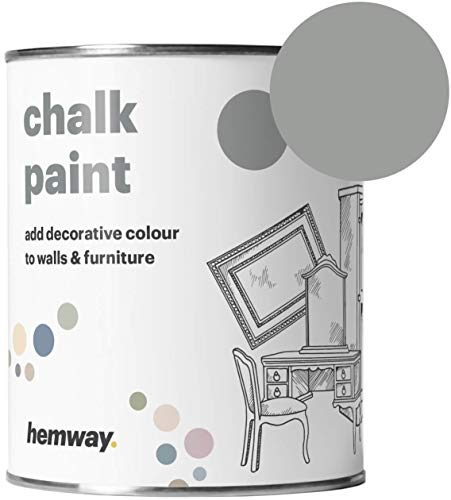 Hemway Chalk Paint (Dove Grey) Matt Finish Wall and Furniture Paint 1L / 35oz Shabby Chic Vintage Chalky (14 Colours Available)