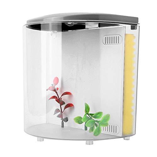 Focket Mini-Aquarium, 20 cm kleine transparente Acryl-LED-Beleuchtung Desktop-Aquarium USB Silent Aquarium Cage, langlebig und verschleißfest für Hausdekoration(Schwarz)