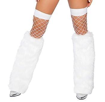 Moonight Women s Furry Fuzzy Leg Warmers  White