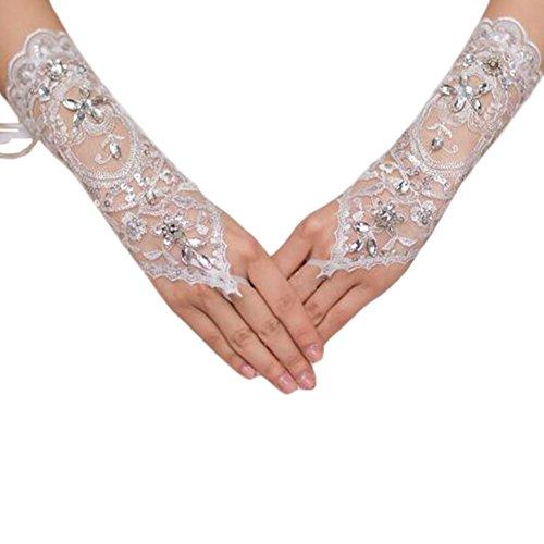 Bind Paire de mitaines en dentelle de mariée Gants de robe de mariage blanc