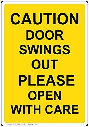 Verticale waarschuwing deur schommelingen uit open met zorg teken, grappige Wanring tekenen, Gate teken, vandaar werf teken, 8