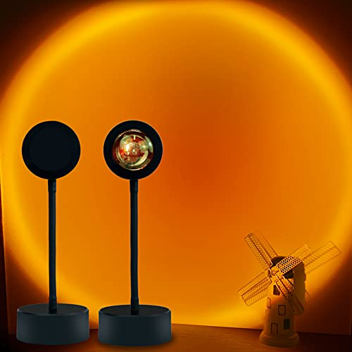Sunset Projection Lamp LED Night Light,360 Degree Rotation Rainbow Sunset Projector Light Floor Lamp,USB Romantic Visual Modern Floor Stand Projector for Bedroom Living Room Decor(Sunset-Red)