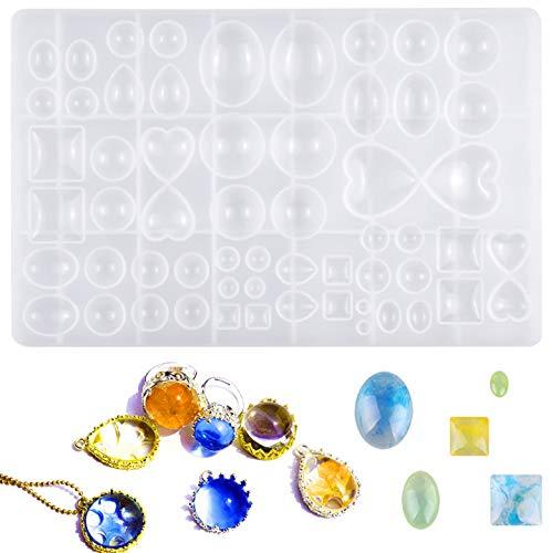 HQdeal Moulle Resine, Pendentif Époxy Cristal DIY Bijoux, Gemstone Silicone Mold, Silicone Résine Jetant Moules pour Craft Pendentif Fabrication de Bijoux Outil