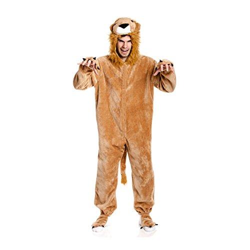 Kostümplanet® Löwenkostüm Herren Löwe Verkleidung Karneval Löwen Kostüm Jumpsuit Fasching Plüsch Overall Kostüme Herrenkostüm Männer große Größe 60/62