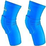 VSPORTS Rodilleras de Baloncesto Compresión Para Voleibol Béisbol Lucha Libre Senderismo Fútbol Voleibol Correr Tenis Deportes Hombres Mujeres Jóvenes Niñas Niños 1 par (Azul, Pequeño)