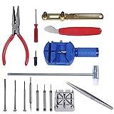 KAV 6174685702253 - Kit de herramientas de reparación de relojes (16 piezas, correa de ajuste, abrebotellas de espalda y extractor profesional)