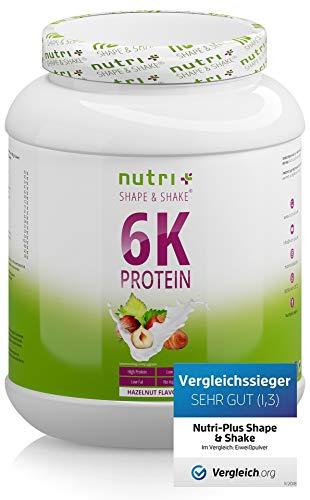 PROTEINSHAKE Nuss 1kg - Deutsche Premiumqualität - hochdosiert - Nutri-Plus Shape & Shake ® Eiweißpulver Haselnuss - ideal auch zum Backen und Verfeinern