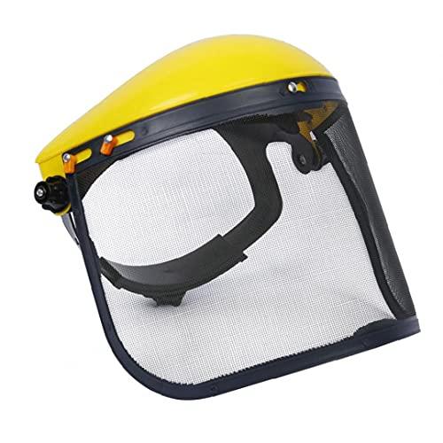 Yililay Netzsicherheits Visier Gesichtsschutz Schutzhelm Brauen für Forst Rasenmäher (gelb)