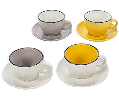 Cappuccino-Set, 4 Cappuccino Tassen mit Untertasse, Keramik-Tassen für Cappuccino, Kaffee, Kakao, Dickwandig, Volumen ca. 200 ml