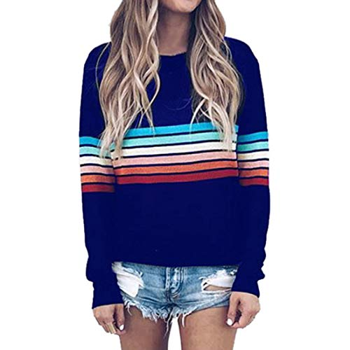Womens T Shirts Long Sleeve Striped Color Block Blouses Christmas Women Leisure Round Neck All-Match Loose Sweatshirts Xmas Fashion T Shirt Pullover XXL