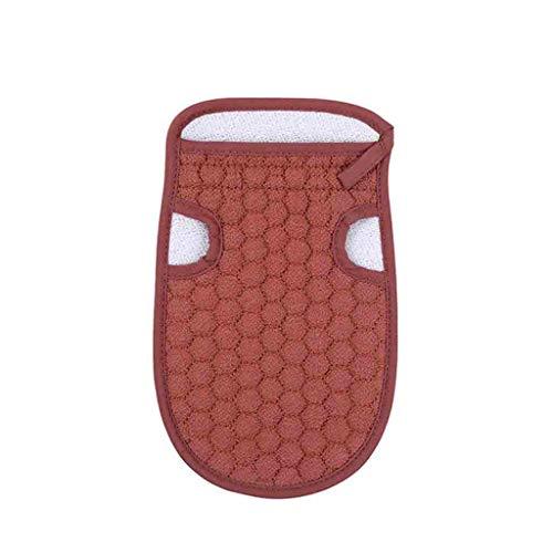 Aomili Gants de bain exfoliants en loofah - Éponge épaisse pour le corps - Double action - Gant exfoliant - Rouge vin