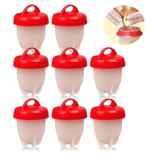 8 Pezzi Cuociuova, Portauova In Silicone Antiaderente Per Cuocere Le Uova, Cuoci Uova Sode Senza Guscio,...
