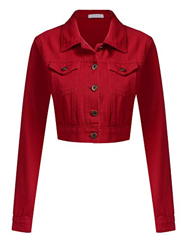 Womens Button Down Long Sleeve Cropped Red Denim Jean Jacket