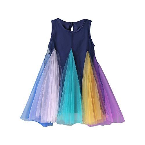 Vestido arcoiris sin mangas para niñas Niños pequeños Niños Niños Vestido de tul de verano Cumpleaños Princesa Faldas Diseño de una pieza
