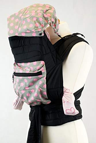 Palm and Pond Mei Tai / Babytrage mit Kapuze und Tasche - Grau/Rosa gepunktet