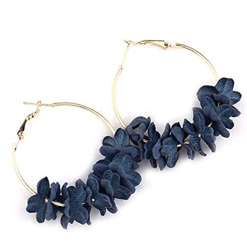 dfhdrtj Glamour moda moda flor aretes 2019 individualidad color pétalos ciruelas grandes aretes joyas