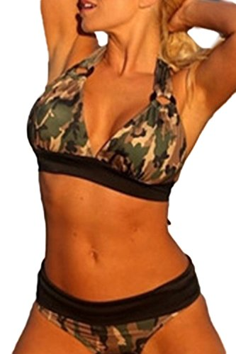Fanvans Frauen Plus Size Split Camouflage - Bikini Camouflage XL