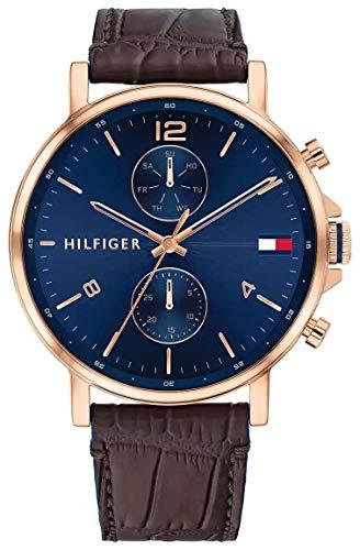 Tommy Hilfiger Analoog Quartz Horloge voor heren met lederen band 1710418