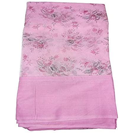 Poly Cotton Printed Mosquito NET for Double Bed/King Size Queen Size Bed//machardani Protection for Baby (Pink, 10x6.5 ft)