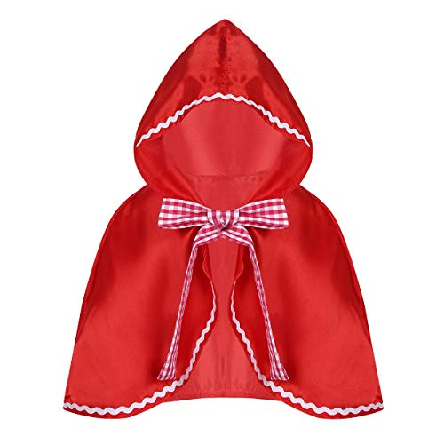 TiaoBug Costume Cappuccetto Rosso Bambina Mantello con Cappuccio Ragazze Cardigan Cosplay Halloween Carnevale Festa Compleanno Gioco di Ruolo S-L Rosso M-L