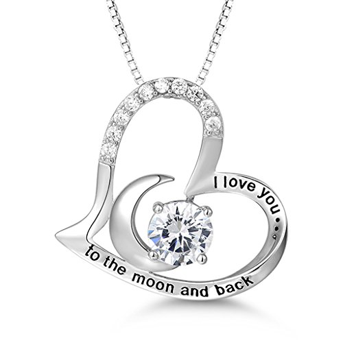 MASOP 925 Sterling Silver Necklace'I Love You to the Moon and Back' Love Heart Zirconia Pendant Necklace, 18+2' Chain