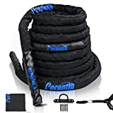Perantlb Battle Rope with wear-Resistant Nylon Protective Sleeve ,Heavy Battle Rope for Strength Training Home Fitness Exercise Rope, Anchor Strap Kit Included (2' x 40 ft Length)