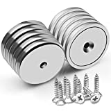 VNDUEEY Strong 1.26'D x 0.2'H Neodymium Disc Countersunk Hole Magnets. 95 LBS Permanent Rare Earth Magnets with Screws- Pack of 10