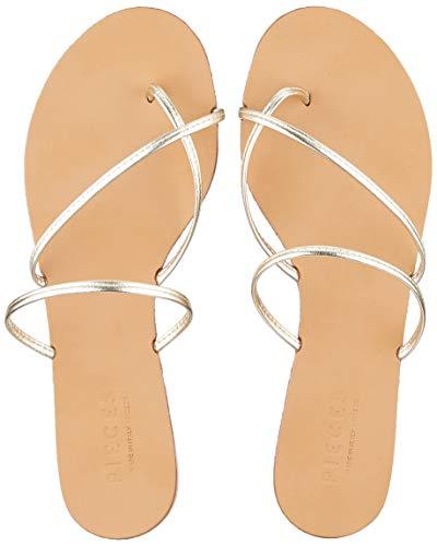 PIECES Damen PSANNIE Leather Flache Sandale, Gold Colour