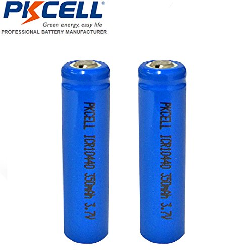 AAA(10440) 3.7V Rechargeable Battery Li ion 350mAh Button Top 2 Pack
